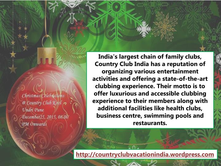 India's largest chain of family clubs, Country Club India has a reputation of organizing various ent...