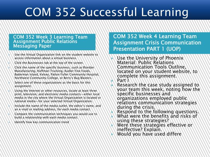 COM 352 Week 3 Learning Team Assignment Public Relations Messaging Paper