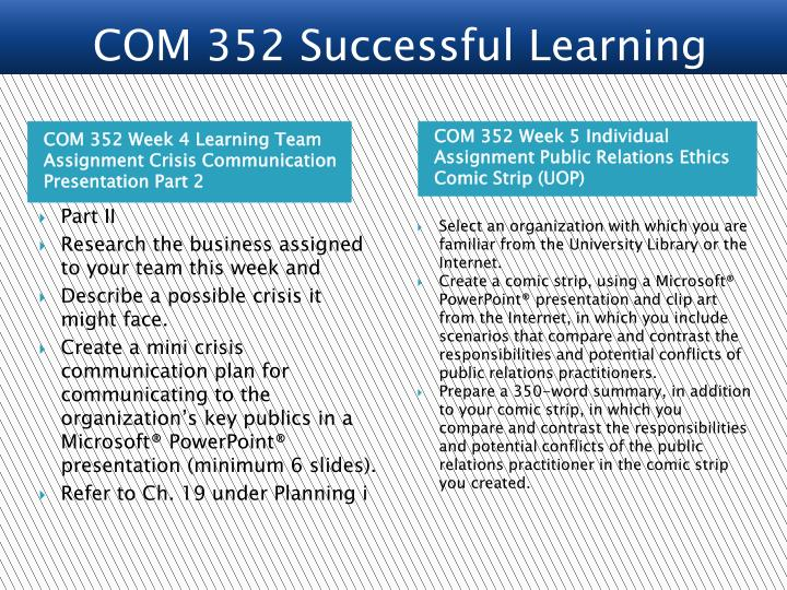COM 352 Successful Learning