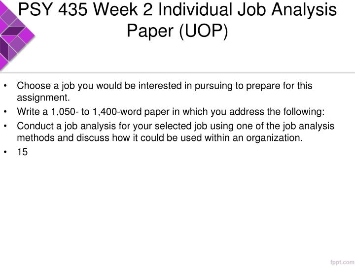 psy 435 job analysis paper Introduction the purpose of this paper is to do a short job analysis job analysis paper performance management and psychology skills needed to do the job.