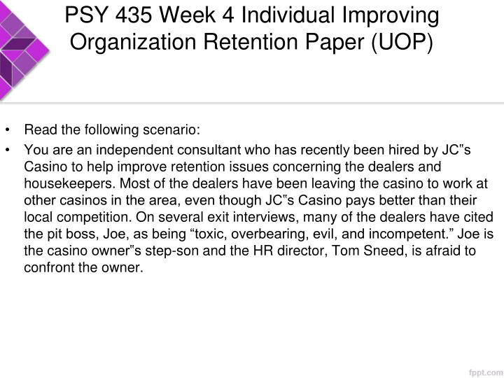 psy 435 week 1 Psy 435 week 1 individual assignment industrial organizational psychology paper $999 psy 435 week 2 individual assignment job analysis paper $999.