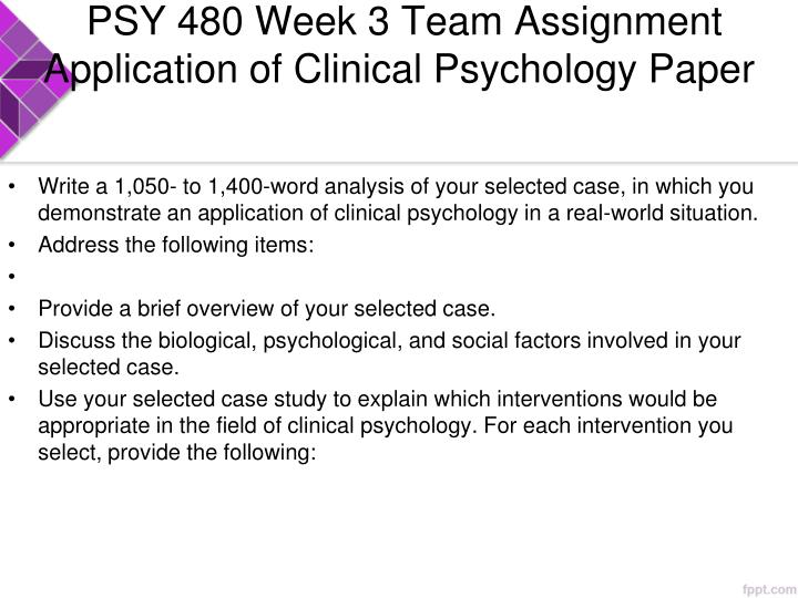 clinical psychology paper Read this essay on application of clinical psychology come browse our large digital warehouse of free sample essays get the knowledge you need in order.