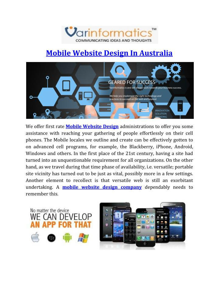Mobile Website Design In Australia