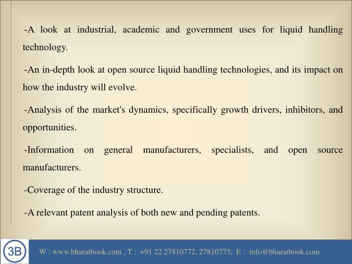 -A look at industrial, academic and government uses for liquid handling technology.