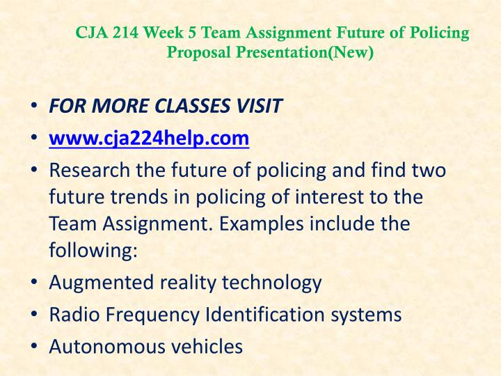 CJA 214 Week 5 Team Assignment Future of Policing Proposal Presentation(New)