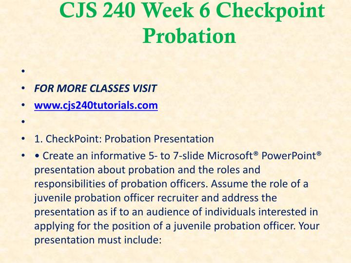 CJS 240 Week 6 Checkpoint Probation