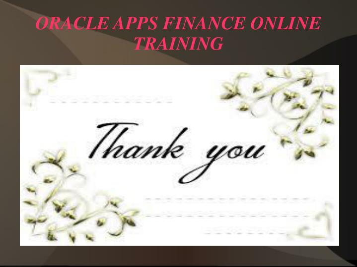 ORACLE APPS FINANCE ONLINE TRAINING