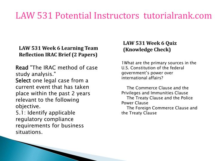 law 531 week 6 team reflection Week 3 tort analysis law 531 week 3 learning team  reflection irac brief hrm 531 week 6 learning team weekly  reflection.