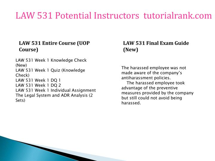 law 531 week 1 adr