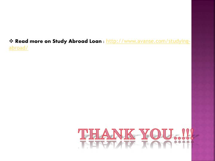 Read more on Study Abroad Loan :