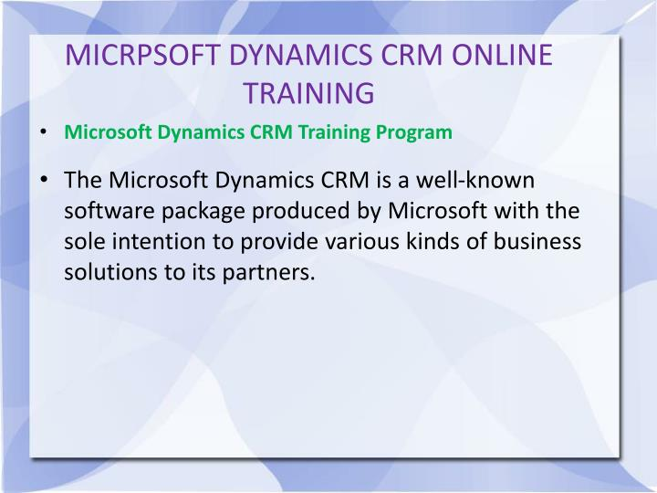 MICRPSOFT DYNAMICS CRM ONLINE TRAINING