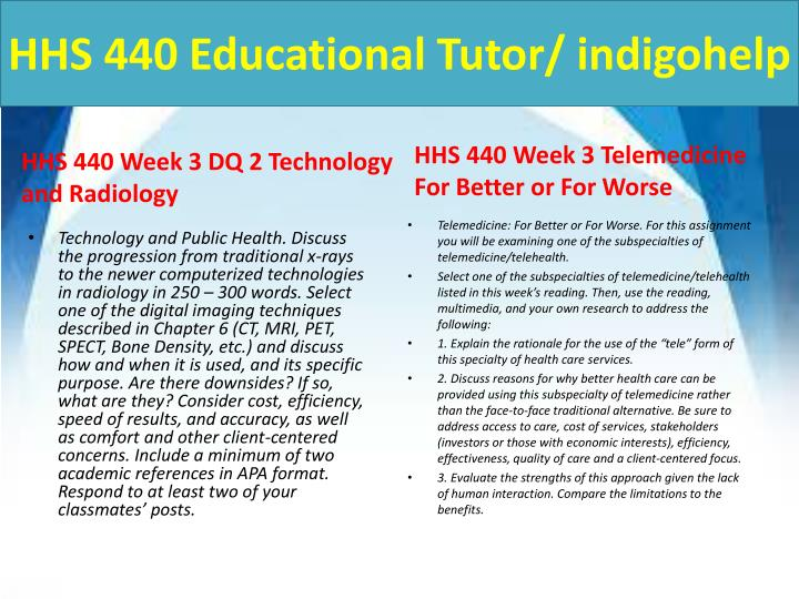 hhs 440 week 3 dq 1 Hhs 440 week 3 dq 1 technology and public health.