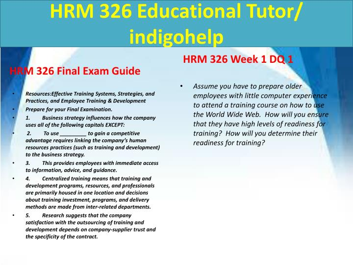 Hrm 326 educational tutor indigohelp2