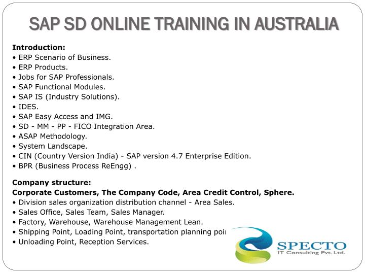 SAP SD ONLINE TRAINING IN AUSTRALIA