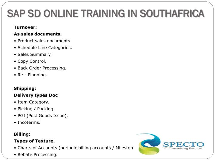 SAP SD ONLINE TRAINING IN SOUTHAFRICA