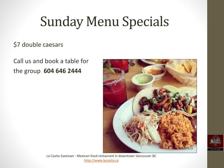 Sunday Menu Specials