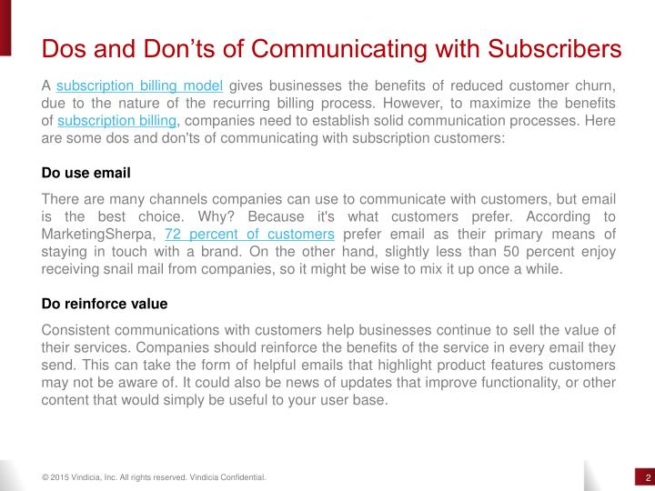 Dos and Don'ts of Communicating with Subscribers