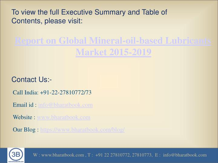 To view the full Executive Summary and Table of