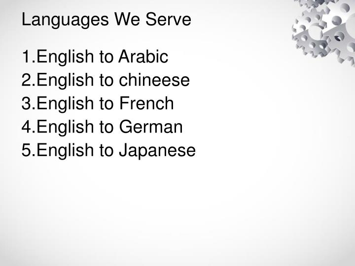 Languages We Serve