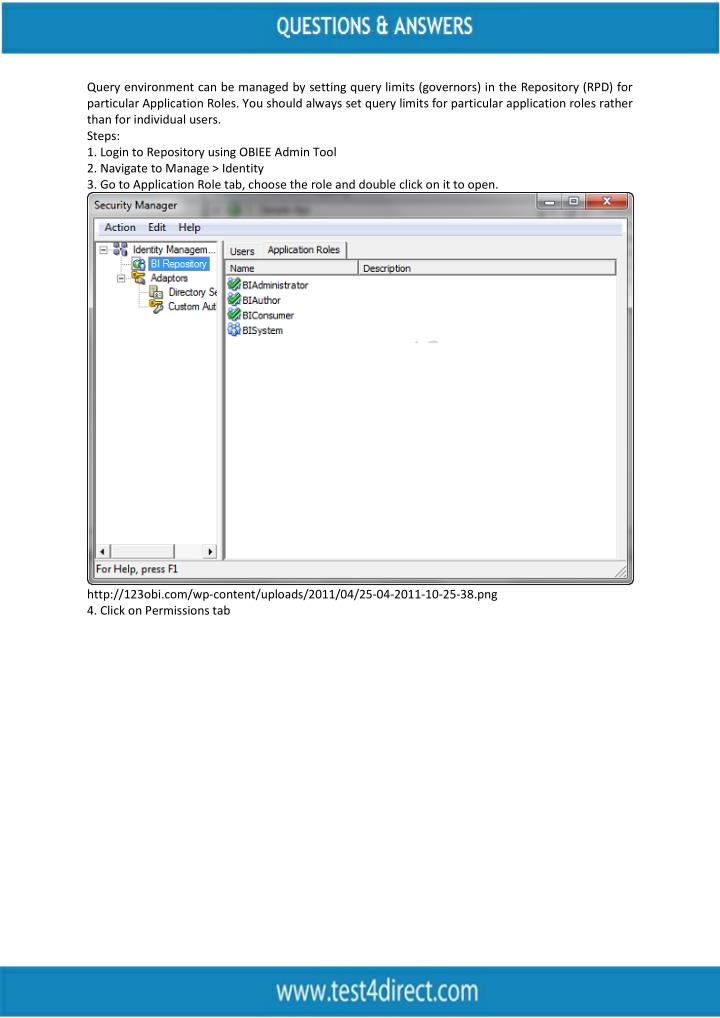 Query environment can be managed by setting query limits (governors) in the Repository (RPD) for