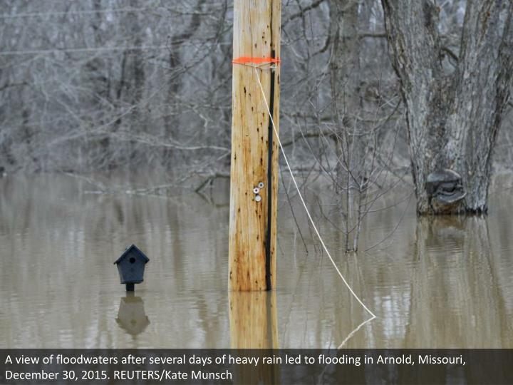 A view of floodwaters after several days of heavy rain led to flooding in Arnold, Missouri, December 30, 2015. REUTERS/Kate Munsch