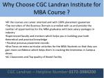 why choose cgc landran institute for mba course