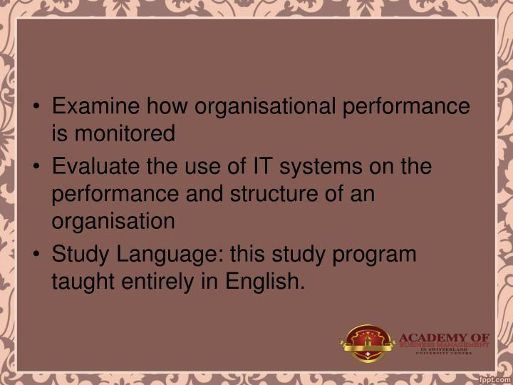 Examine how organisational performance is monitored