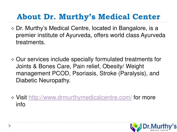 About Dr. Murthy's Medical Center