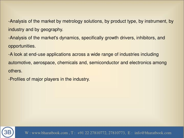 -Analysis of the market by metrology solutions, by product type, by instrument, by industry and by geography.