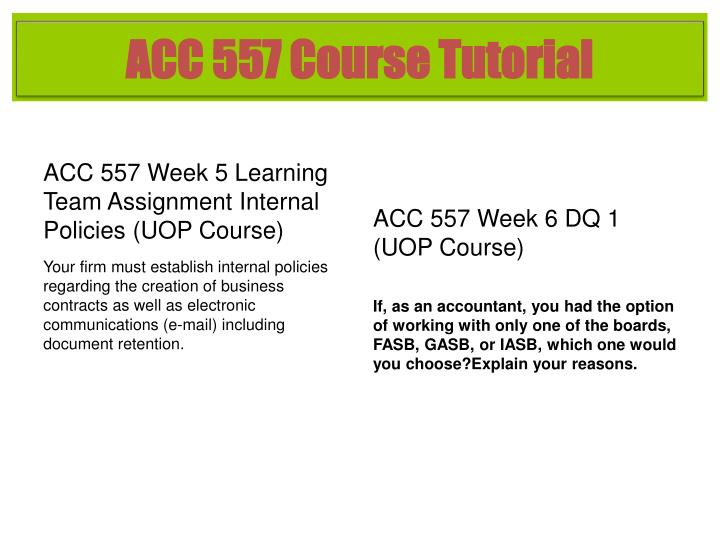 ACC 557 Course Tutorial