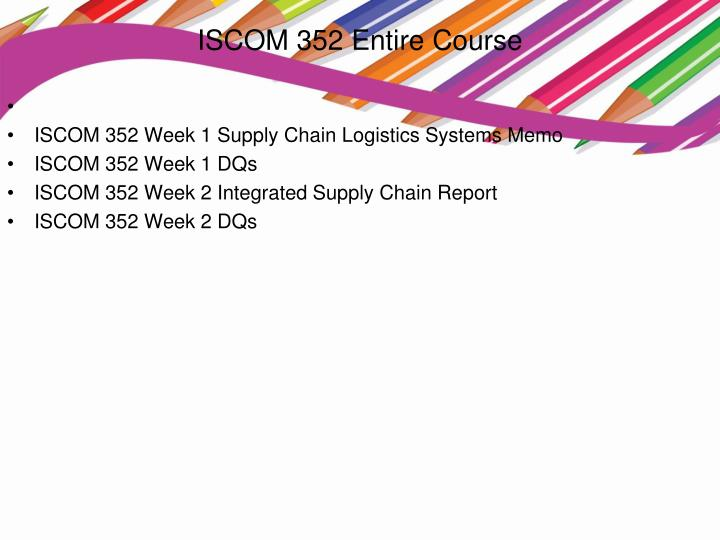 ISCOM 352 Entire Course