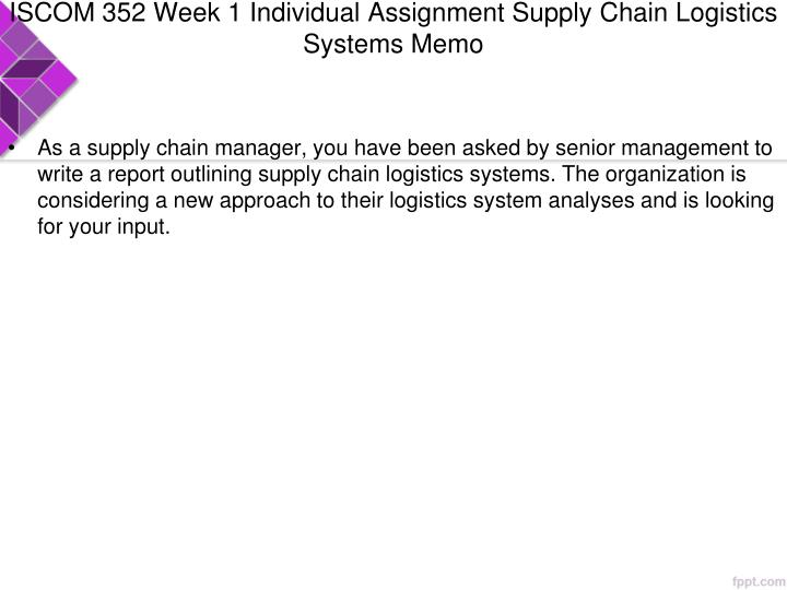ISCOM 352 Week 1 Individual Assignment Supply Chain Logistics Systems Memo