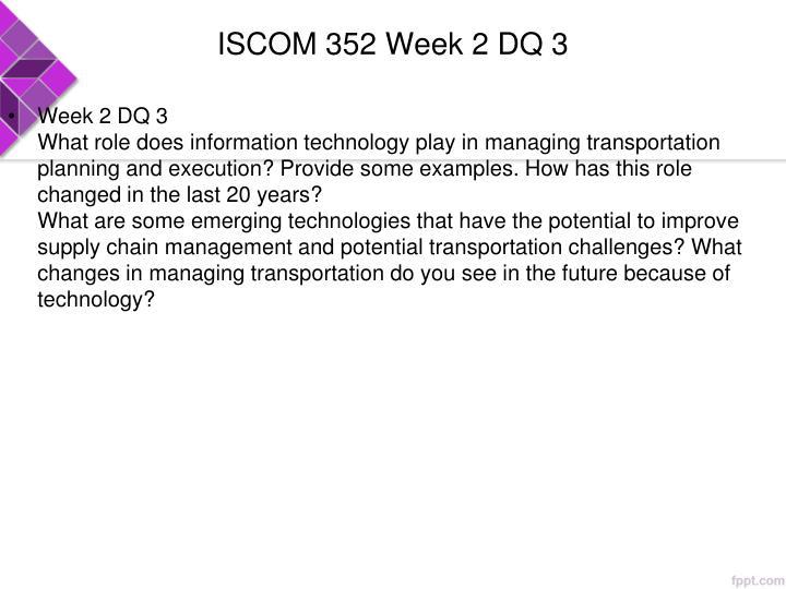 ISCOM 352 Week 2 DQ 3