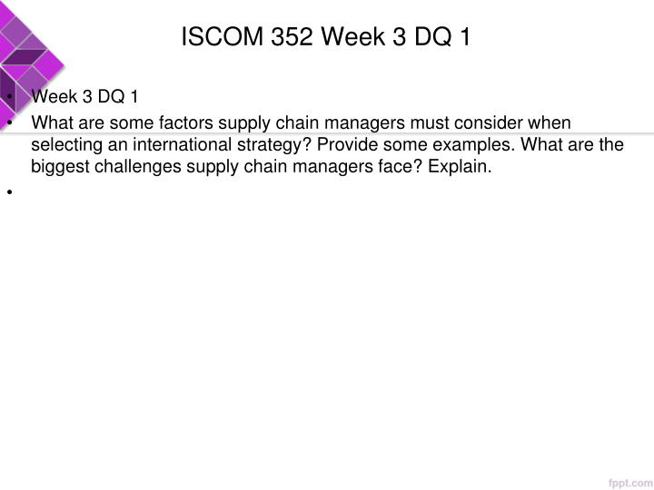 ISCOM 352 Week 3 DQ 1