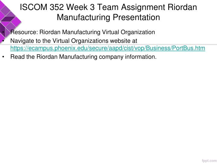 ISCOM 352 Week 3 Team Assignment Riordan Manufacturing Presentation