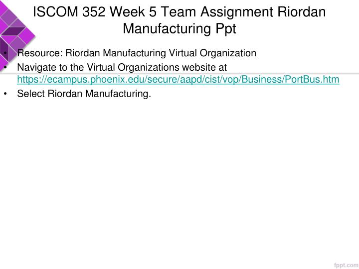 ISCOM 352 Week 5 Team Assignment Riordan Manufacturing