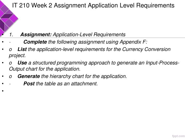 IT 210 Week 2 Assignment Application Level Requirements