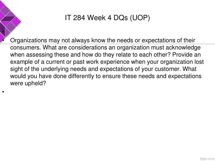 IT 284 Week 4 DQs (UOP)