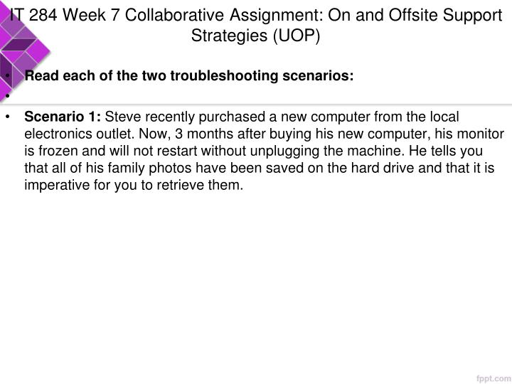 IT 284 Week 7 Collaborative Assignment: On and Offsite Support Strategies (UOP)