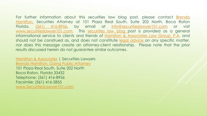 For further information about this securities law blog post, please contact