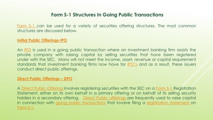Form S-1 Structures In Going Public Transactions