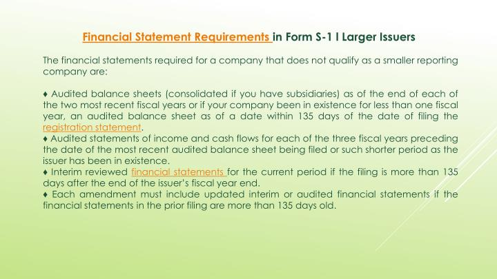 Financial Statement Requirements