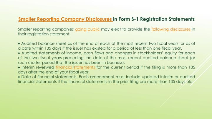Smaller Reporting Company Disclosures