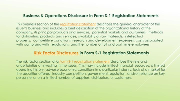 Business & Operations Disclosure