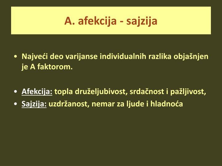 A. afekcija - sajzija