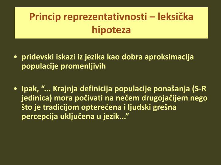 Princip reprezentativnosti – leksička hipoteza