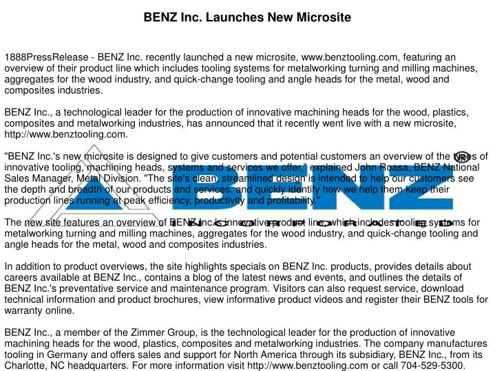 BENZ Inc. Launches New Microsite
