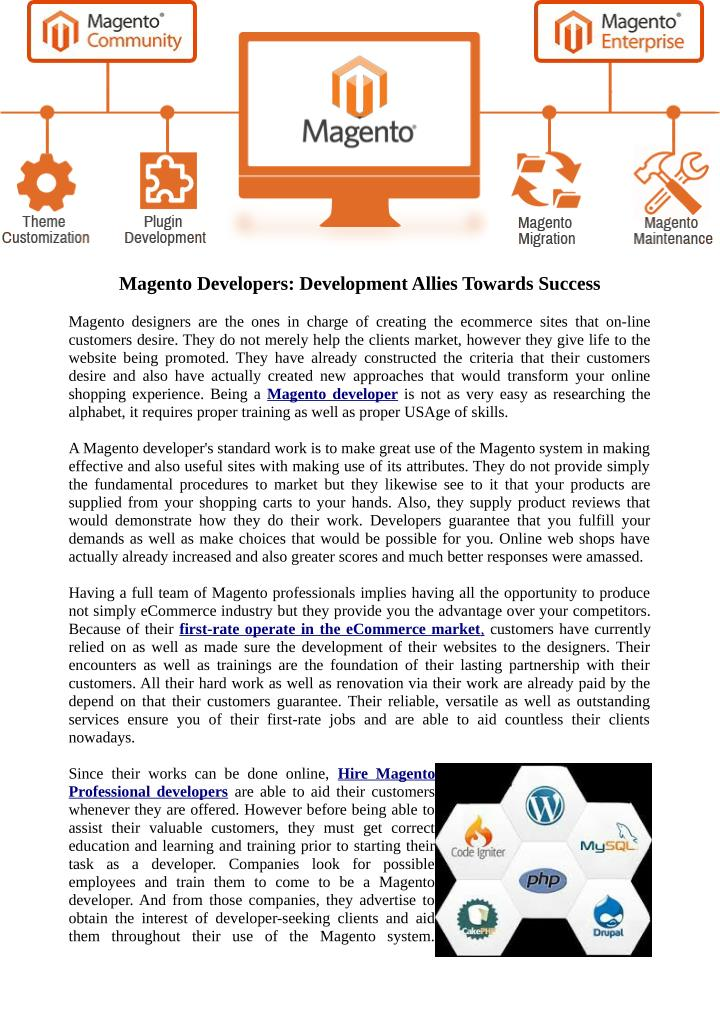 Magento Developers: Development Allies Towards Success