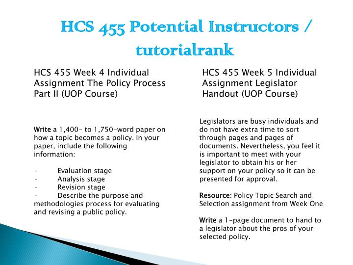 hcs 455 the policy process part ii week 4 To see what has been added to or changed in psychology this week go to what's new this week  department of psychology disenrollment policy for psychology 111, 330, 340, 350, 360, 370, 380, and 390  part 1 is a general introduction to psychology (definitions, history, methods).