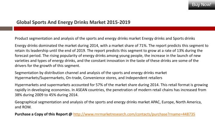 market research report energy and sports Report highlights the us market for protective sport equipment reached $19 billion in 2014 this market is expected to reach about $20 billion by 2015 and $22 billion by 2020, registering a compound annual growth rate the global market for sports nutrition and high energy supplements totaled $375 billion in 2014.